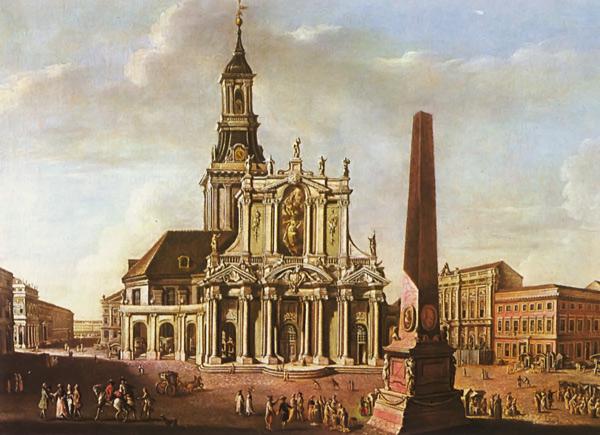 Vorbau der Nikolaikirche (1753), Gemälde von Johann Friedrich Meyer 1771.